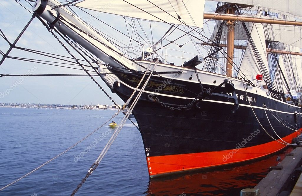 Star of India was built in 1863 as Euterpe, a full-rigged iron windjammer ship in Ramsey, Isle of Man.  Stock Photo #1056824