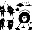 Royalty-Free Stock Imagem Vetorial: Silhouette of alien, UFO, planet