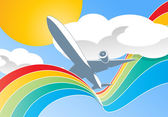 Airplane in clouds — Stock Vector