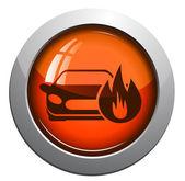Brinnande bil, vektor icon — Stockvektor