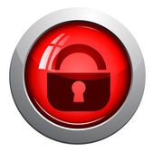 Lock, web vector glossy icon, red — Stock Vector