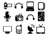 Black & white media vector icons — Stock Vector
