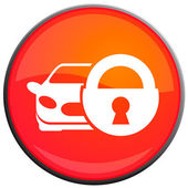 Protected car, vector icon — Stock Vector