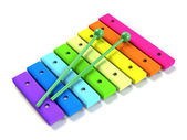 Kids rainbow wooden xylophone — Stock Photo