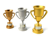 Three trophy cups — Stock Photo