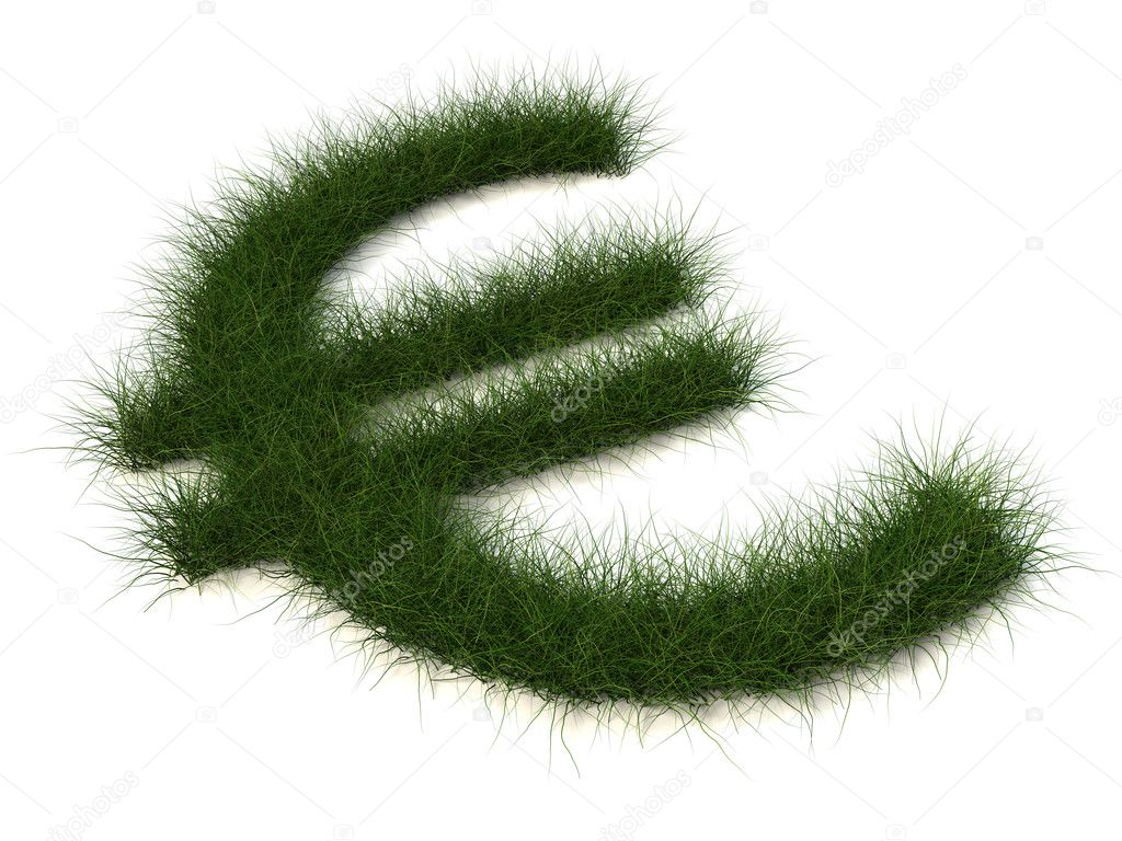 Euro sign of grass isolated on white background — 图库照片 #1091849
