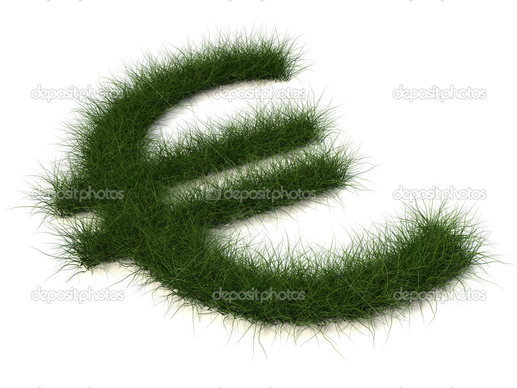 Euro sign of grass isolated on white background — Стоковая фотография #1091849