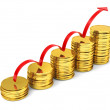 Stacks of gold coins with arrow — Stock Photo