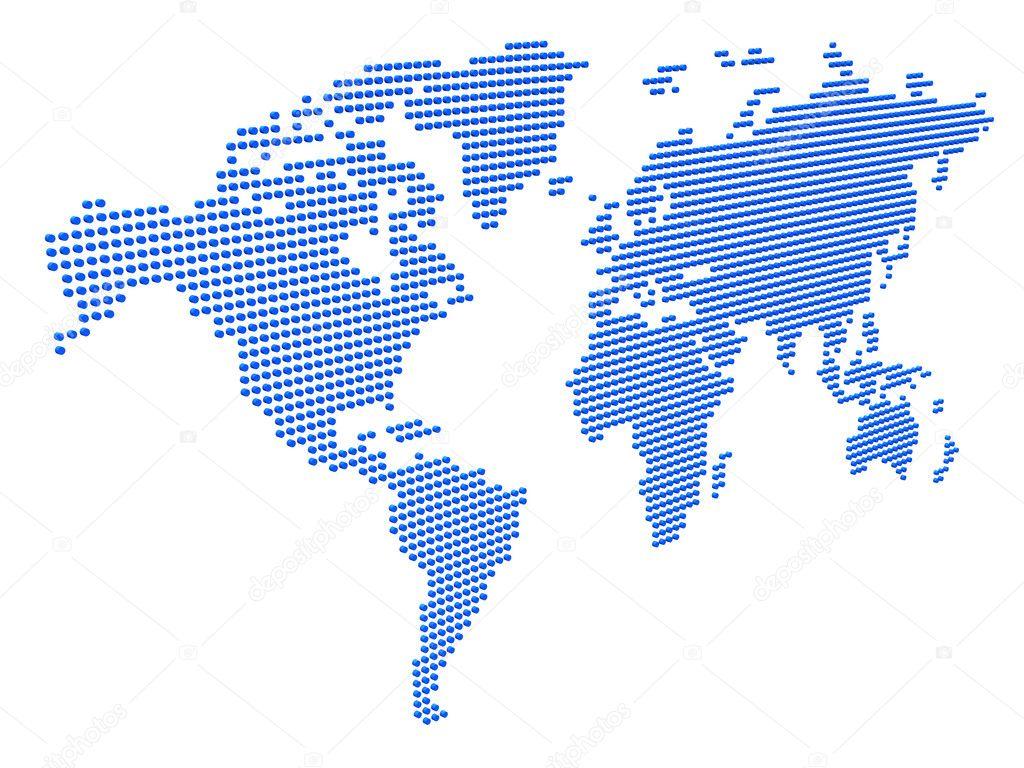 虚线3d 世界地图 — 图库照片08igonin#1105878