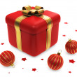 Gift Box With Red Striped Christmas Ball - Stock Photo