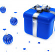 Stock Photo: Gift Box With Blue Striped Christmas Bal