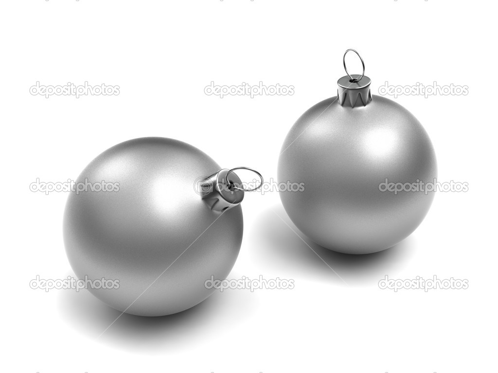Two Silver Christmas Balls isolated on white background — Stock Photo #1215185