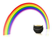 Rainbow and pot of gold — Stock Photo