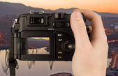 Digital Camera photo in a hand isolated — Stock Photo