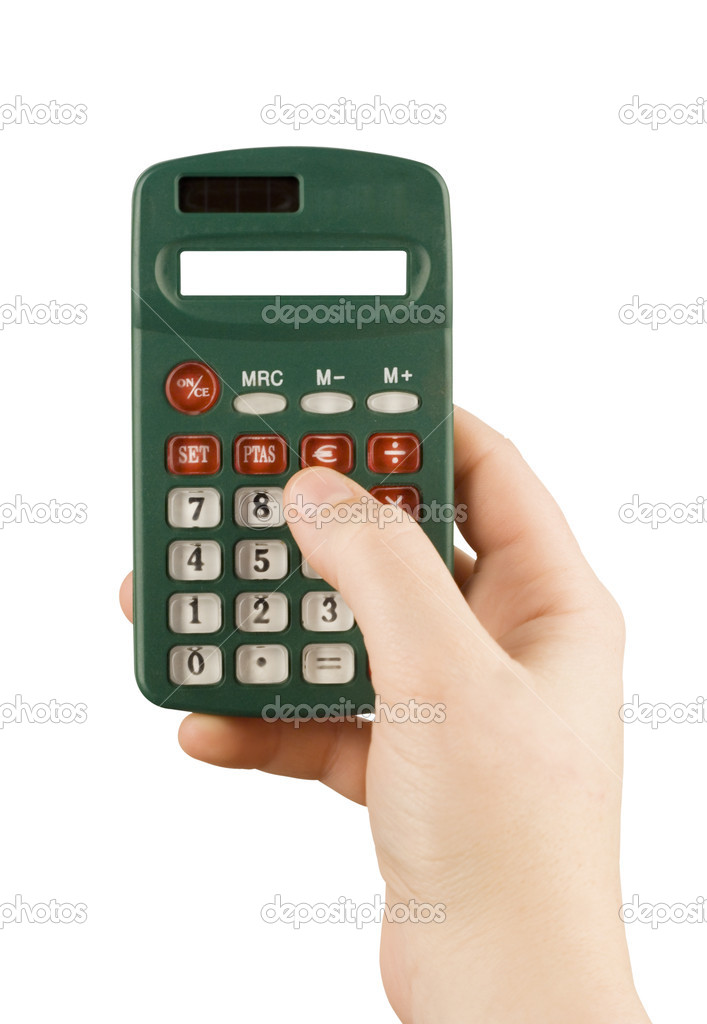 Business financial calculator machine hold in woman hand  Stock Photo #1119510