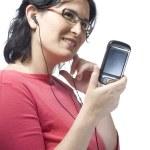 Woman technology mp3 music — Stock Photo