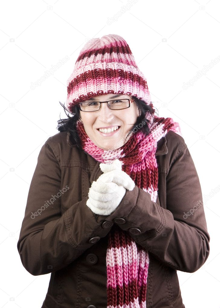 Christmas girl shaking and rubbing because of winter — Stock Photo #1121477
