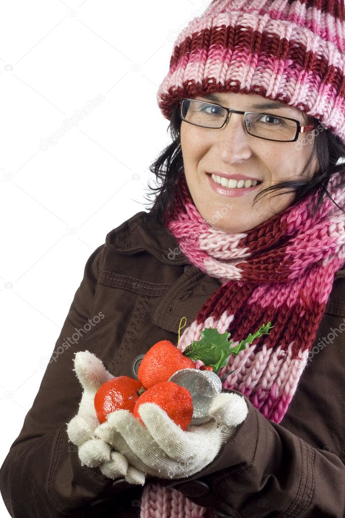 Christmas woman holding some beautiful xmas ornaments — Stock Photo #1121508