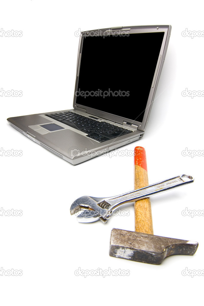 Conceptual technology and help. Computer and tools.  Stock Photo #1122257