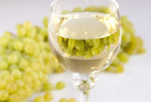 Grapes and white wine — Stock Photo