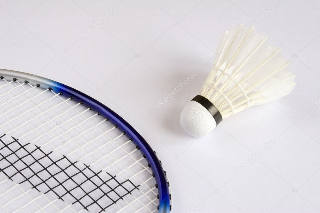 Badminton Racket and Shuttlecock isolated on white background — Stock Photo #1057002