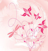 Decorative floral on pink background — Stock Vector