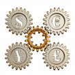 3D. Gear and currency symbols - Stock Photo