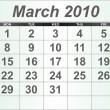 Royalty-Free Stock Photo: March 2010 Desktop Calendar.