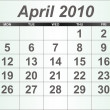 Stock Photo: April 2010 Desktop Calendar.