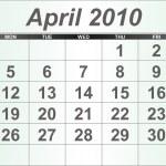 April 2010 Desktop Calendar. — Stock Photo