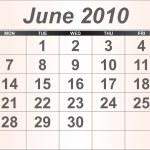 June 2010 Desktop Calendar. — Stock Photo