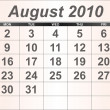 Stock Photo: August 2010 Desktop Calendar.