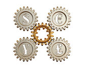 3D. Gear and currency symbols — Stock Photo