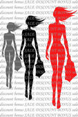 Silhouettes of girls against the text — Stock Vector