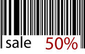 Stroke-code sale 50 % — Stock Vector