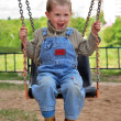 Royalty-Free Stock Photo: Boy is playng on the swings