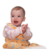 Applauding baby over white — Stock Photo