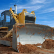 Close-up view of heavy bulldozer standin — Stock Photo