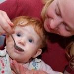 Baby Feeding with spoon — Stock Photo