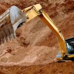 Excavator loader in sandpit — Stock Photo
