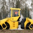 Yellow road roller - Stock Photo