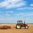 Agriculture ploughing tractor outdoors — Stock Photo