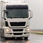 White lorry during the rain — Stock Photo
