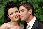 Close-up photo of happy young wedding co — Stock Photo