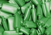Heap of green plastic bottles — Stock Photo