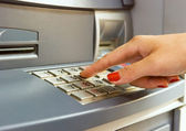 Using bank ATM — Foto Stock