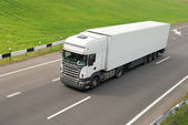 White lorry with trailer (upper view) — Stock Photo