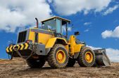Rear view of diesel wheel loader bulldoz — Stock Photo