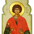 Stock Photo: Icon on wood of Saint Pantaleon (Pan