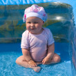 Girl in the air swimming pool — Stock Photo